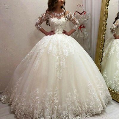 Ad Ebay Url 3 4 Sleeve Ball Gown Wedding Dresses Sheath Applique Lace Princ Vestidos De Novia Disney Fotos Vestidos De Novia Vestidos De Novia Estilo Princesa