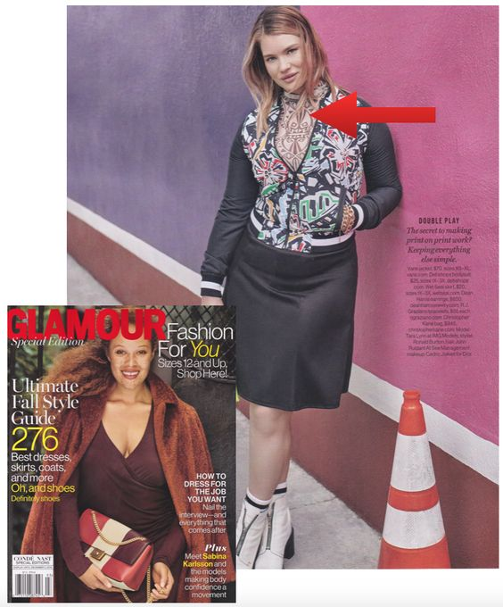 Model Tara Lynn wears a Deb Shops geometric print bodysuit in the Fall issue of Glamour's Fashion For You! Shop this look at http://www.debshops.com/PlusSize/Plus+Size+Mesh+Geometric+Print+Bodysuit|1004383_012!