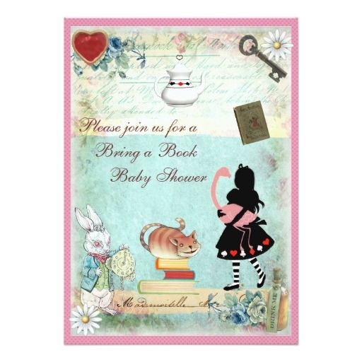 bring a book alice & pink flamingo baby shower card   pink, babies, Baby shower invitations
