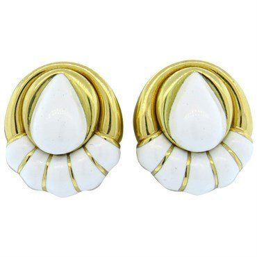 David Webb White Enamel Gold Earrings