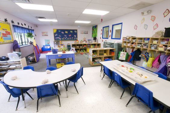 pre-k classroom....I only wish my Prek class was this big!--- we eat our meals in my room so tables must stay in one place.
