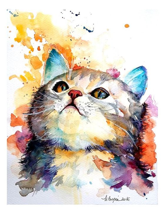 Watercolor Painting by Mishu Bogan - Cat Curiousity - Doodlewash #WorldWatercolorGroup
