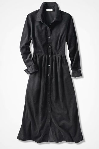 Pincord Shirtdress, Black