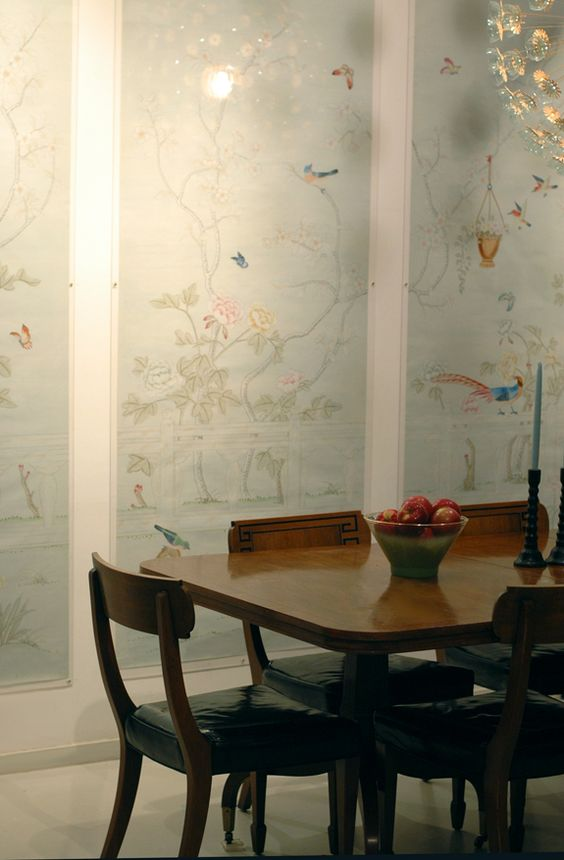 Chinese Wallpaper in Acrylic Frames - She hung the paper with command tabs in the corners, screwed acrylic sheets directly to the wall, right over them.