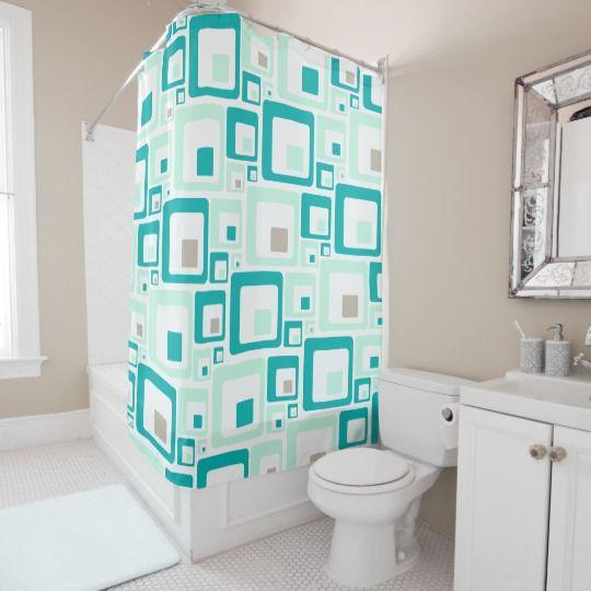 Retro Squares Shower Curtain Mid Century Modern Zazzle Com