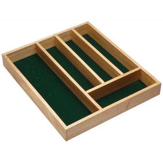 Kitchen Craft KCCUTLERYWD - Organizador de cubiertos en madera (5 compartimentos, 36 x 31 x 5 cm): Amazon.es: Hogar
