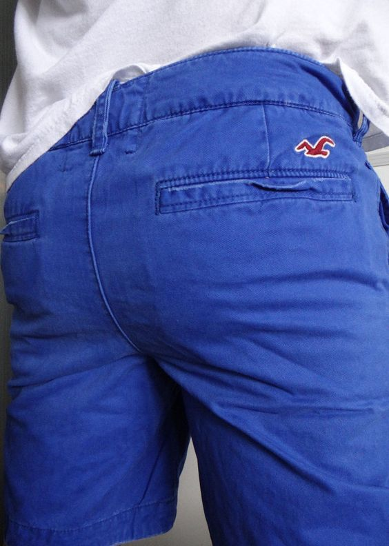 Hollister Abercrombie Men Dudes Khaki Chino Distressed Low Rise Blue Shorts 31 #Hollister #KhakisChinosCasual