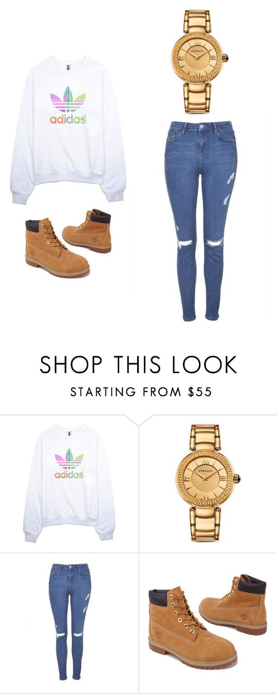 """Outfit Idea by Polyvore Remix"" by polyvore-remix ❤ liked on Polyvore featuring adidas, Versace, Topshop and Timberland"