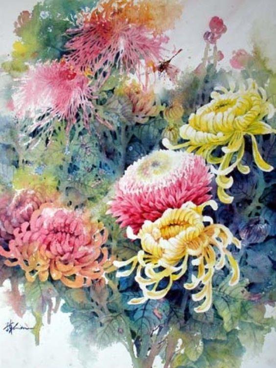 Watercolor by Lian Zhen flowers chrysanthemums