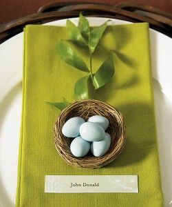 place settings,sweet but i would prefer pale blue napkin and white eggs.: