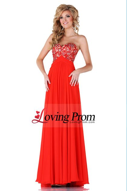 2014 Sweetheart Lace Bodice Open Back A Line Prom Dress With Chiffon Skirt