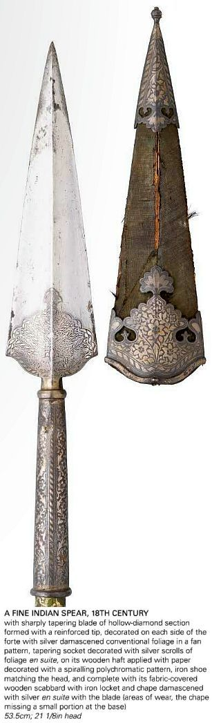 Indian spear, 18th c, hollow-diamond section blade with a reinforced tip, decorated on each side of the forte with silver damascened conventional foliage in a fan pattern, tapering socket decorated with silver scrolls of foliage en suite, on its wooden haft applied with paper decorated with a spiralling polychromatic pattern, iron shoe matching the head, and complete with its fabric-covered scabbard with iron locket and chape damascened with silver en suite with the blade, 53.5cm; 21 1/8in…