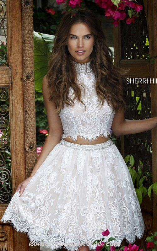 Sherri Hill 32290 Lace A Line Two Piece Homecoming Dress 2016