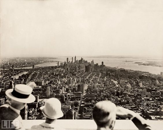 The opening day of the Empire State Building from the observation deck, near the top of the building, which provides a 360-degree view of the city, by Samuel H. Gottscho, 1931.