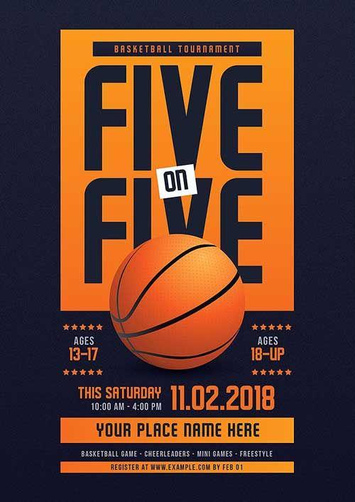 5 On 5 Basketball Tournament Flyer Template Https Ffflyer Com