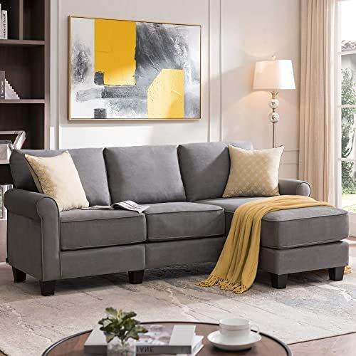 New Nolany Reversible Sectional Sofa Couch Small Apartment L Shape Sofa Couch 3 Seat Sectional Corner Couch Dusty Grey Online Shopping In 2020 Sectional Sofa L Shaped Sofa Corner Couch