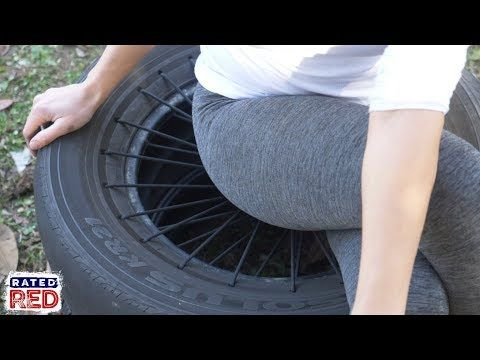 How To Make A Paracord Tire Stool Youtube Diy Outdoor Seating Tire Chair Diy Chair