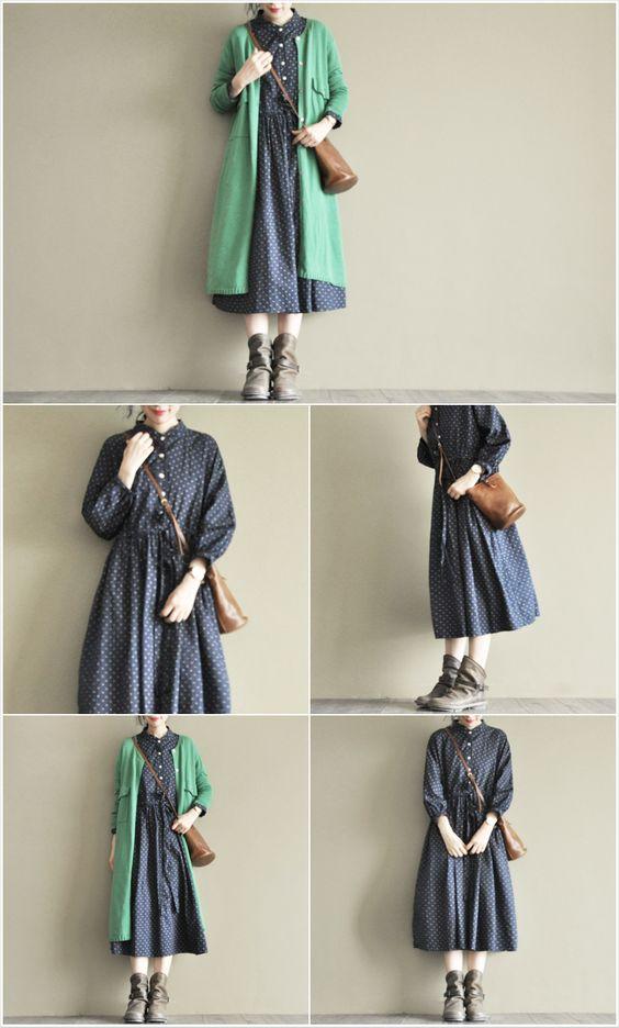 「两人出品-第36个故事」清秋-暗绿长款毛衣开衫-淘宝网