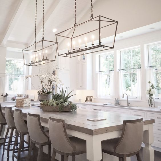 30 Brilliant Kitchen Island Ideas That Make A Statement: Lighting! Table! Chairs. Everything. Perfect