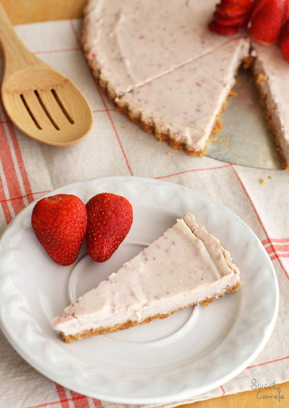 Strawberry Tofu Cheesecake - Cheesecake de Tofu y Fresas