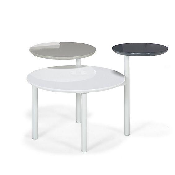 Spirale Meuble Table basse avec 1 plateau fixe et 2 plateaux rotatifs gris