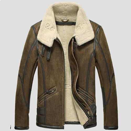 Brown Australian Sheepskin Leather Fur Dress Bomber Jacket Coat