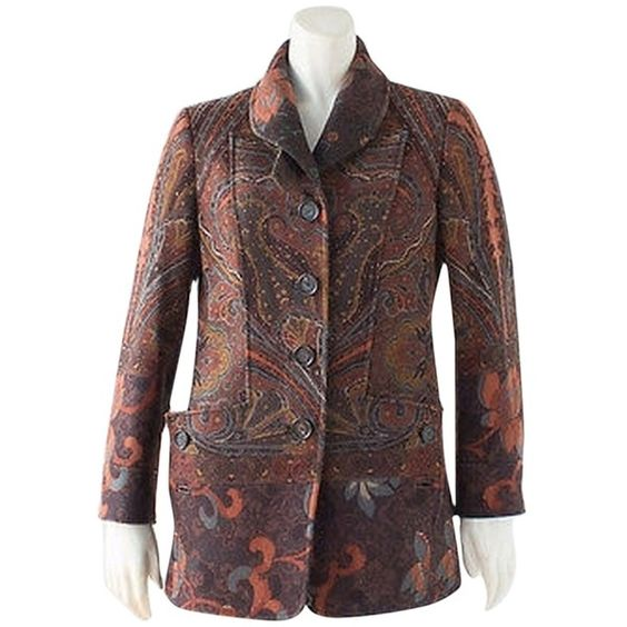 Pre-owned Etro Brown Multi-color Wool Blend Paisley Print Button Front... ($149) ❤ liked on Polyvore featuring outerwear, jackets, colorful jackets, wool blend jacket, multi color jacket, brown jacket and etro