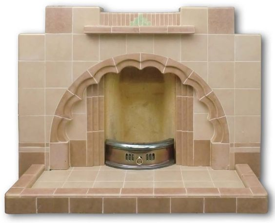 1940 1950s Art Deco Tiled Fireplace Front Angle Art