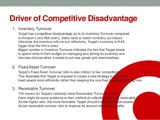 Driver of Competitive Disadvantage 1. Inventory Turnover Target has competitive disadvantage as to its Inventory Turnover ...