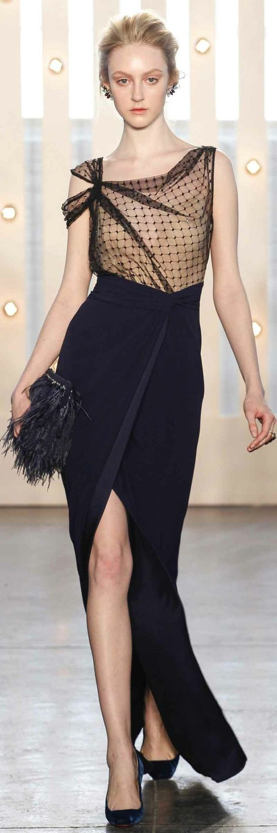 I really like the funkiness and yet remaining class of this number! I adore the nude and black sheer mesh torso with split sleeve, and the navy split skirt. Very fun yet elegant.