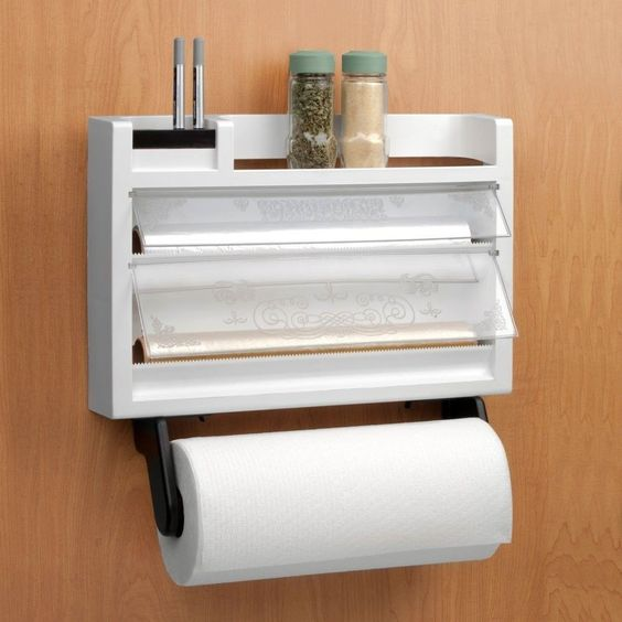 the ultimate kitchen 3 in 1 dispenser paper towel holder spice rack foil wax spice racks the. Black Bedroom Furniture Sets. Home Design Ideas