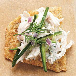 Tzatziki Chicken Salad on pita chips Menu | MyRecipes.com