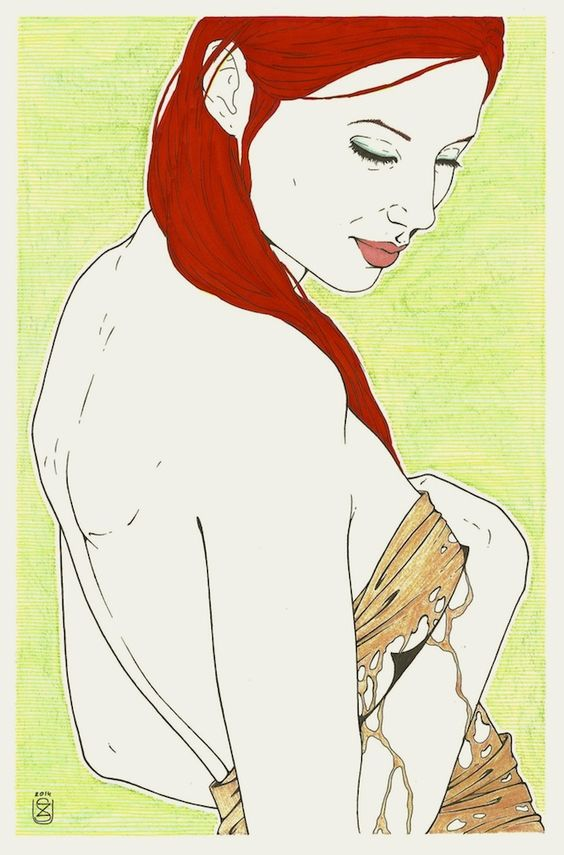 """ink, marker and watercolour on paper; part of my new series """"naked before"""" #nude #art #erotica #illustration #graphics"""
