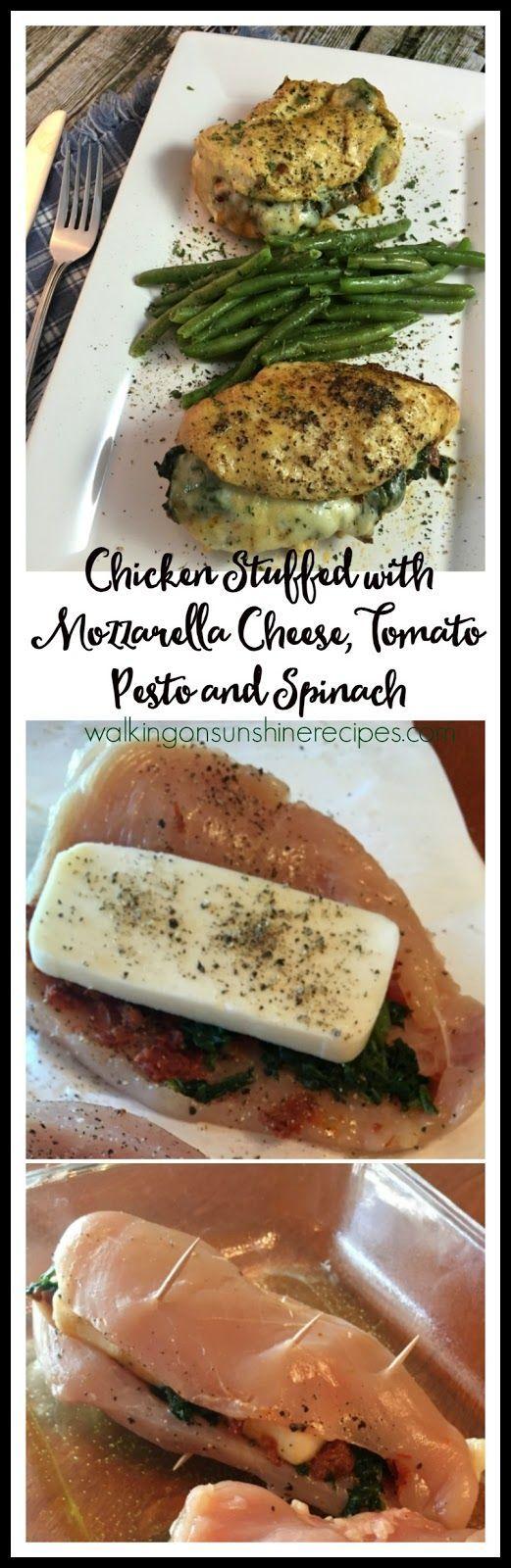 Chicken stuffed with mozzarella cheese, tomato pesto and spinach is a ...