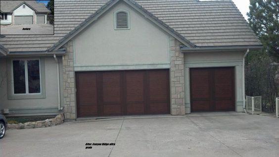 Doors garage doors and home on pinterest for Composite garage doors that look like wood