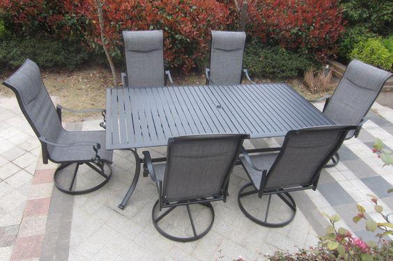 $1,050 Amazon.com : 7pc Cast Aluminum Slat Top Swivel Patio Furniture Set - Black : Patio, Lawn & Garden
