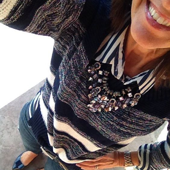 """It's Sunday Day 25 of my #January #WinterFashion #StyleChallenge and I just grabbed a #Stripe shirt #Sweater a fun #StatementNecklace and I'm good to go!…"""