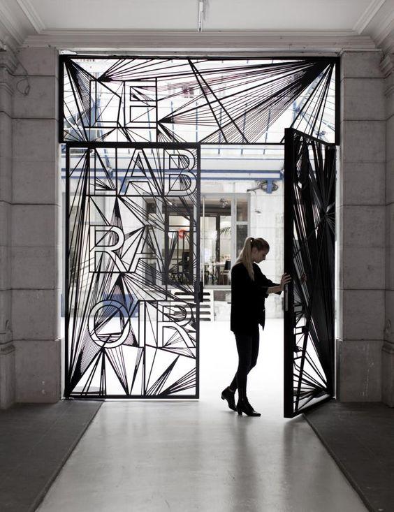 vector metal door signage design, LabGate | repinned by brocoloco.com