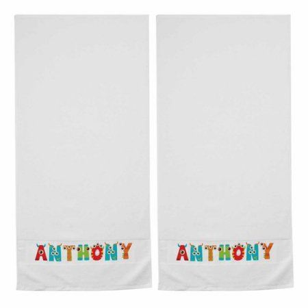 Personalized Fun Letters Bath Towel, Monster, Set of 2, Multicolor