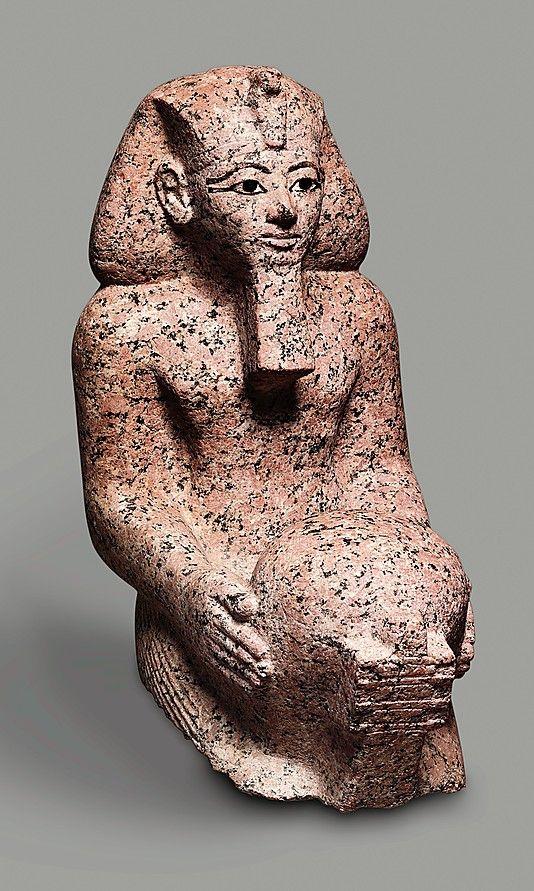 "Kneeling statue of Hatshepsut  Date: ca. 1473–1458 B.C.  Thebes, Deir el-Bahri, ""Hatshepsut Hole"" (depression east of temple of Thutmose III), MMA 1922-1923  Accession Number: 23.3.1"