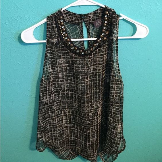 Sheer Tank Blouse Jeweled Collar with Key hole back ASTR Tops Tank Tops