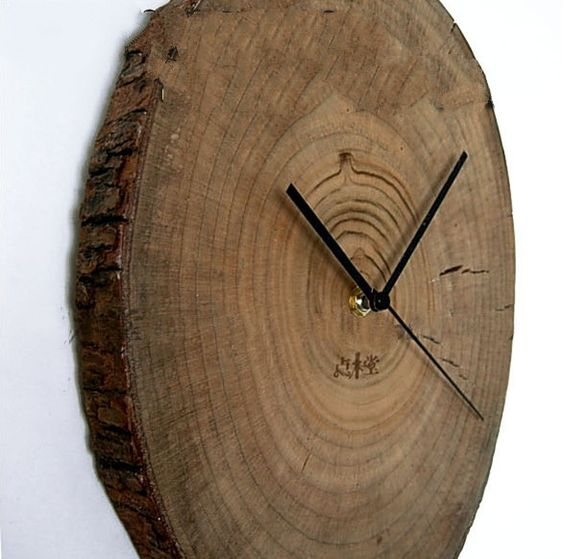 rustic camphor wood log wall clock minimalist primitive home decor gifts
