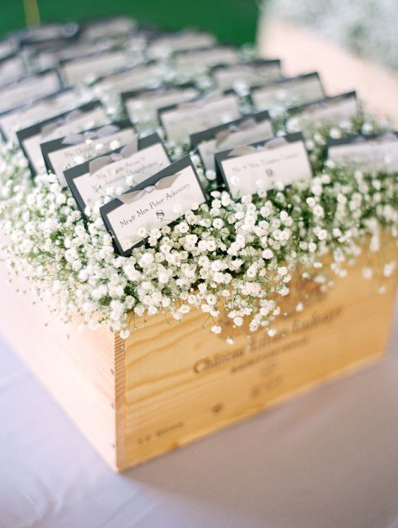 wedding place cards babys breath - Wedding Place Cards