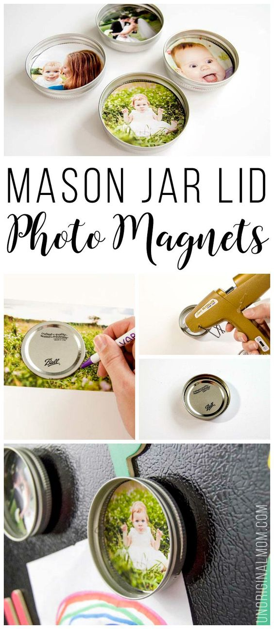 What a cute way to use up leftover mason jar lids - turn them into photo…