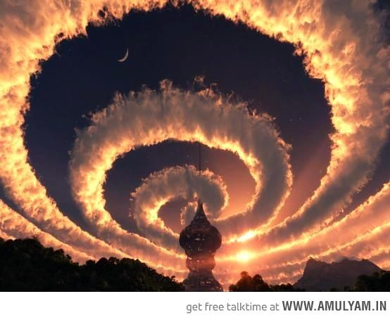 """Cloud spiral in the sky-a work of digital art by Deviant Art artist repawnd, entitled """"The Ruins""""; the artist describes it as a weather generator. http://repawnd.deviantart.c...SORRY for the earlier description which was a repinned version."""