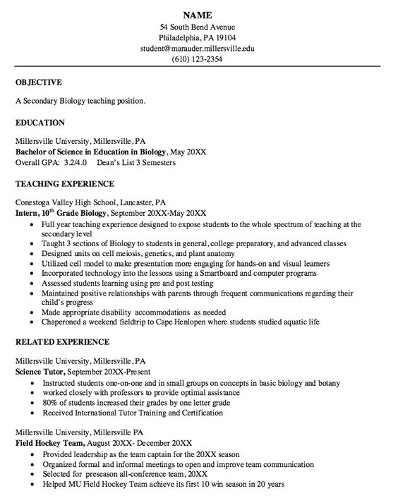 resumes biology and resume on