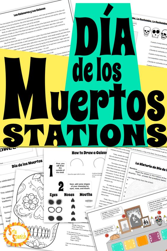 Need an idea for Día de los Muertos for your classroom? This station set includes reading, writing, drawing, & listening activities to learn about Day of the Dead for your novice Spanish students! Students will compare cultural traditions while learning about the history and art of Día de los Muertos with these fun print and go activities! Don't stress about a big party or project! Educate your students and have fun with these centers! Perfect for upper elementary, middle or high school classes!
