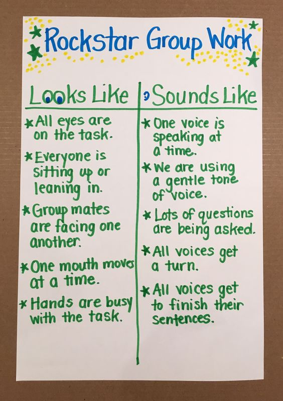 Rockstar Group Work! Great social skills T-chart for cooperative learning!