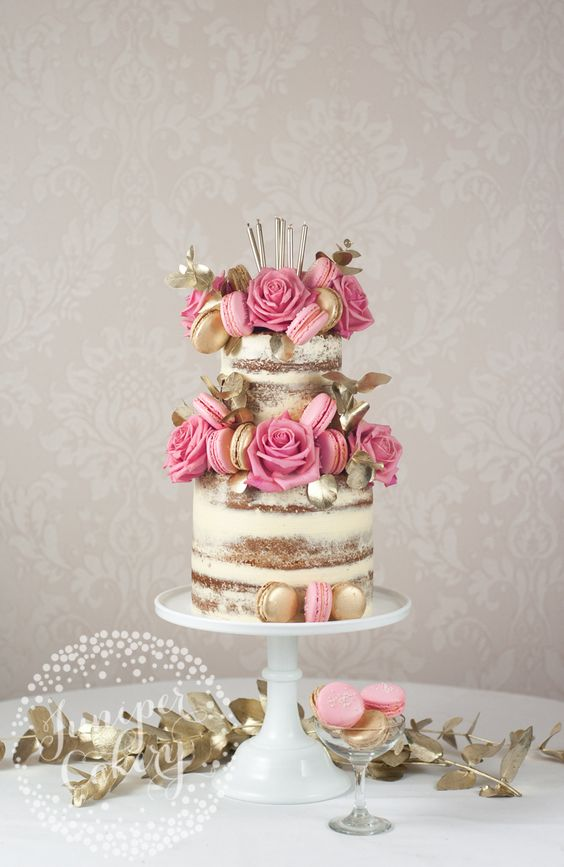 Stunning gold and pink themed naked cake by Juniper Cakery: