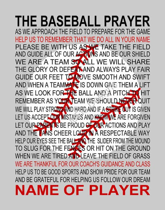 The Baseball Prayer 2 Personalized With Baseball Prayer Poem Print